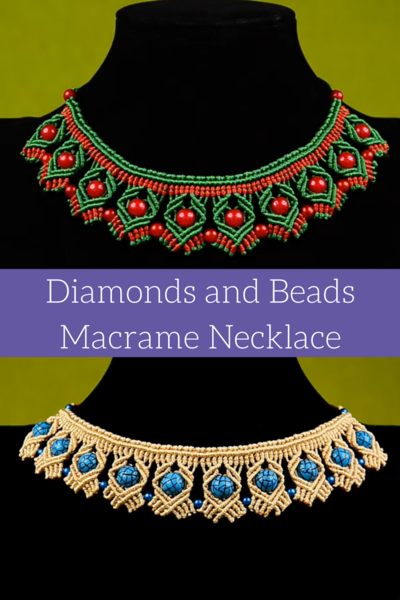 Diamonds and Beads Macrame Necklace