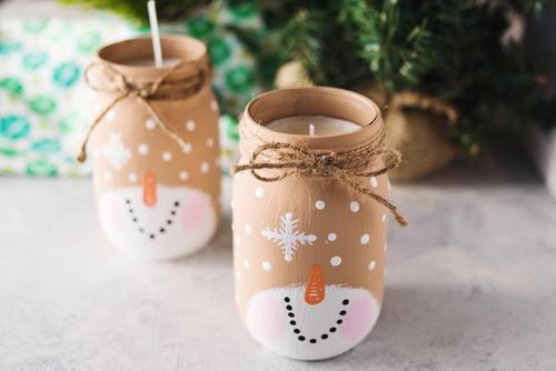 Snowman mason jar candle for Mason jar candle crafts