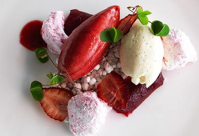 Strawberry Jelly, Marshmallow, Chips and Sorbet