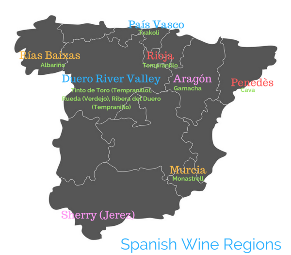 Spanish Wine Regions map