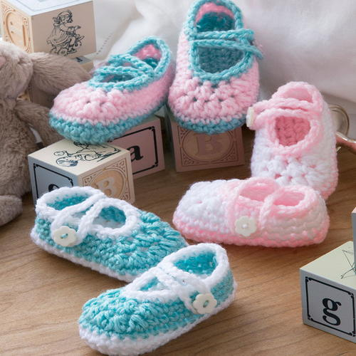 Free Crochet Pattern Baby Lion Booties : Two-Color Baby Booties AllFreeCrochet.com