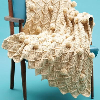 Lattice Pom Pom Crochet Blanket
