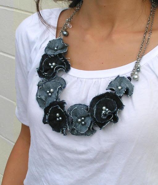 Denim Flower DIY Necklace