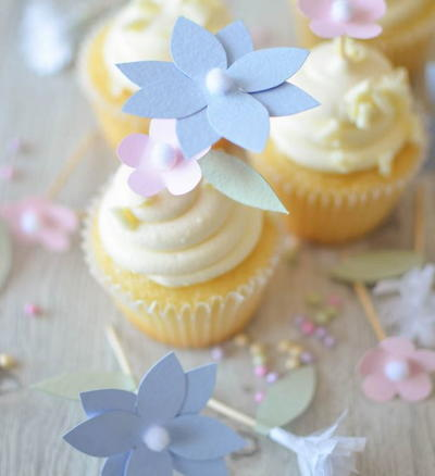 Pastel Paper Flower Cupcake Toppers