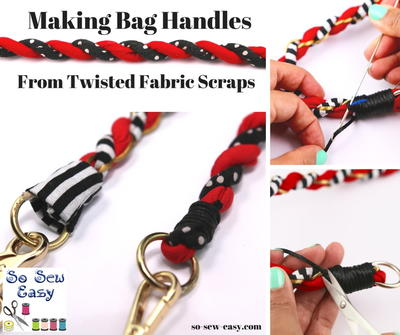 Making Bag Handles from Twisted Fabric Scraps