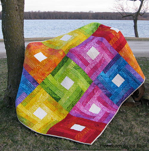 Rainbow Rail Fence Quilt Tutorial Favequilts Com