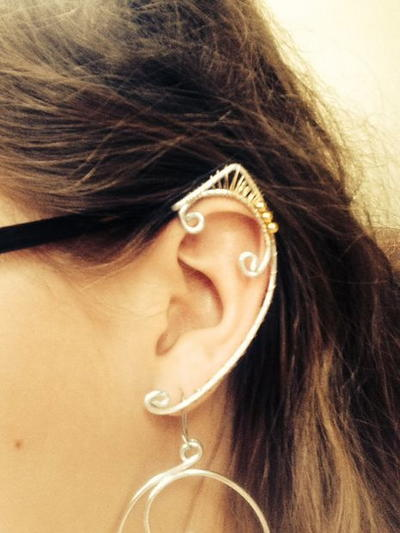 Crystal and Wire Elven Ear Cuff
