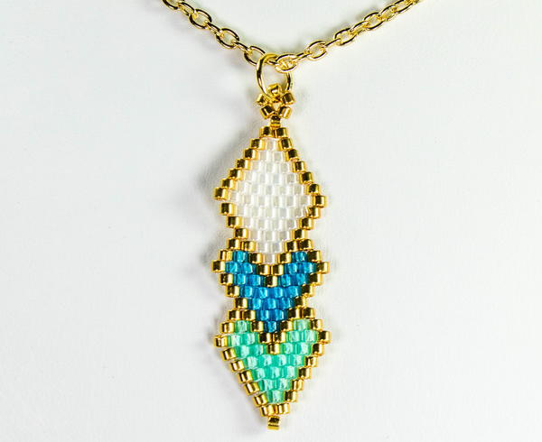 Brick Stitch Diamond Shaped Pendant