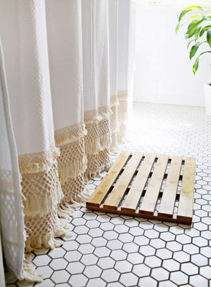 Macrame Lace DIY Shower Curtain