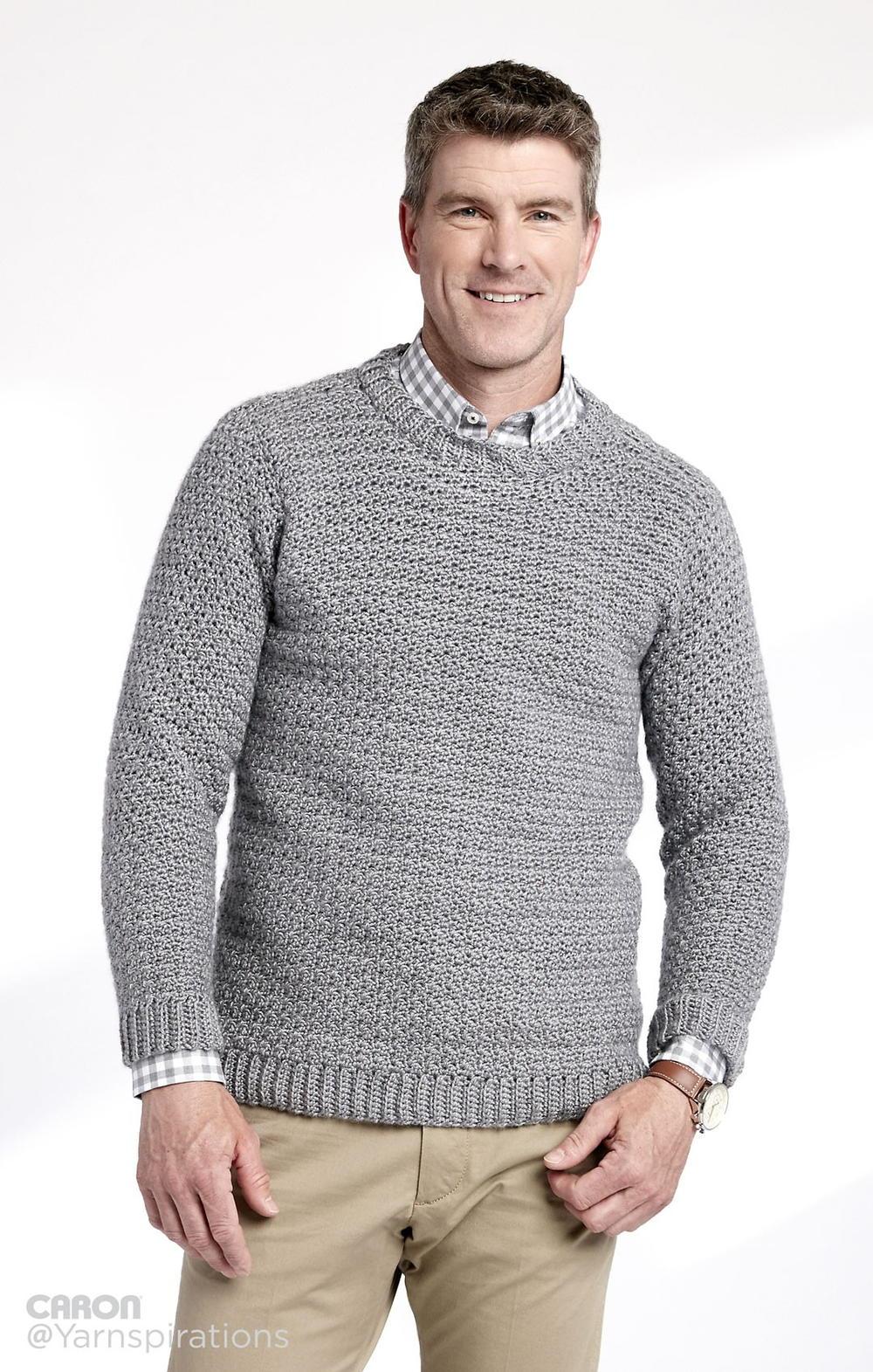 Free Crochet Pattern V Neck Pullover : Adult Crochet Crew Neck Pullover AllFreeCrochet.com