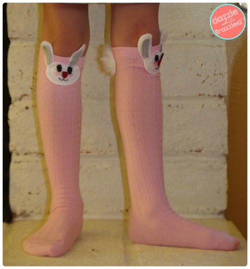 DIY Easter Bunny Girls Knee High Socks