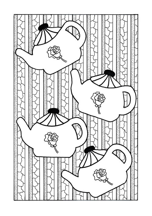 Tea Party Adult Coloring Page