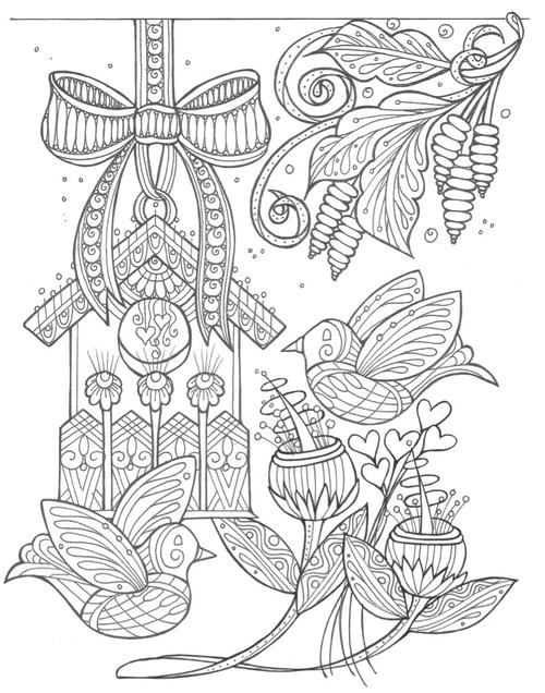 Birds and Flowers Spring Coloring Page 500 ID