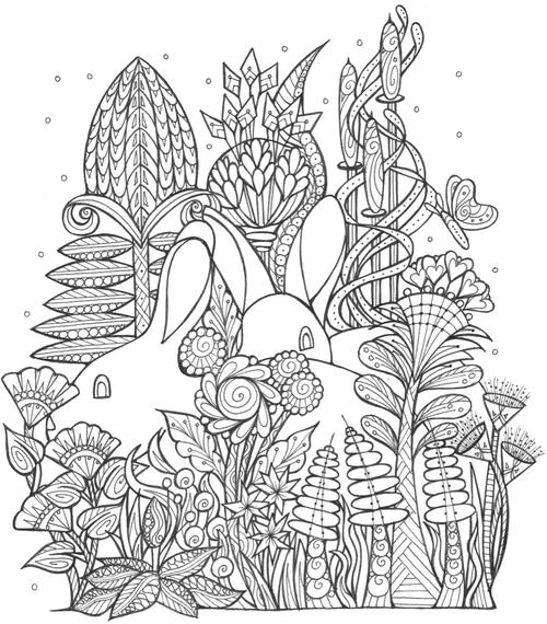 Spring Bunny Coloring Page 500 ID