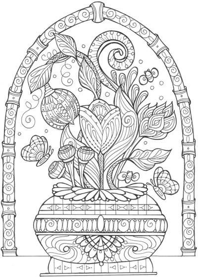 Vase of Flowers Adult Coloring Page