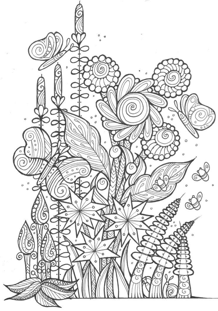 Butterflies and Bees Adult Coloring