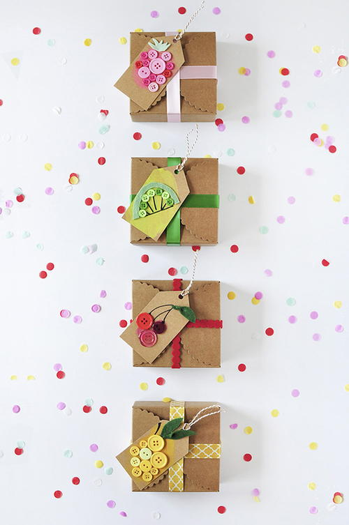 Button Fruit DIY Tags