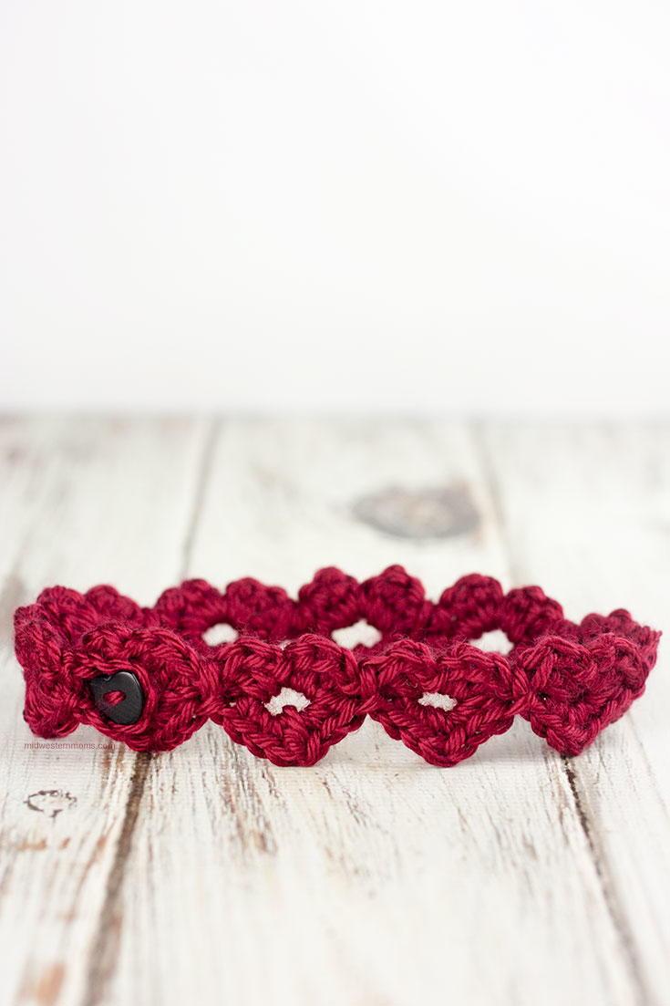 Adorable Amish Crochet Heart Headband