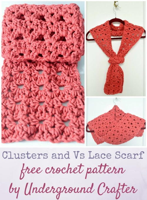 Clusters and Vs Lace Scarf