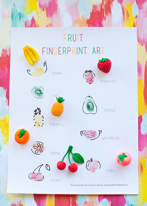 Easy Printable Fruit Fingerprint Art