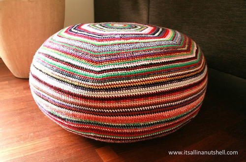 Pleasant Colorful Striped Crochet Pouf Allfreecrochet Com Squirreltailoven Fun Painted Chair Ideas Images Squirreltailovenorg