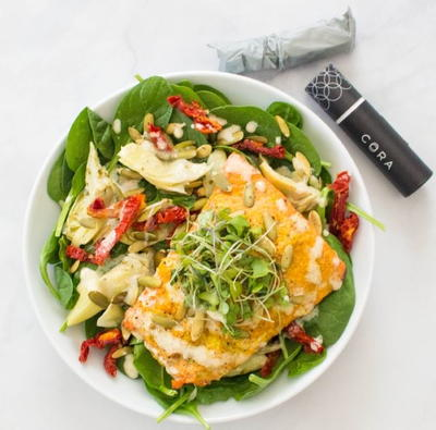 Spinach Salad with Ginger Turmeric Salmon