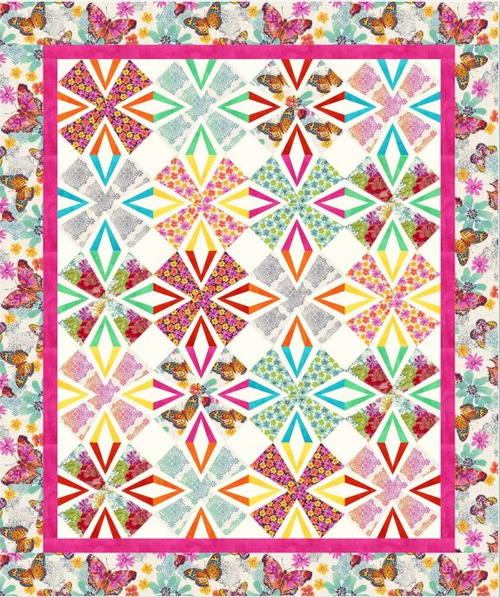 Free Quilt Patterns For Throws : Flutterby Throw Quilt Pattern FaveQuilts.com