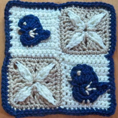Birds and Lilies Granny Square