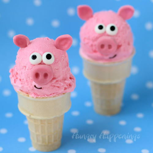 Adorable Pig Ice Cream Cones