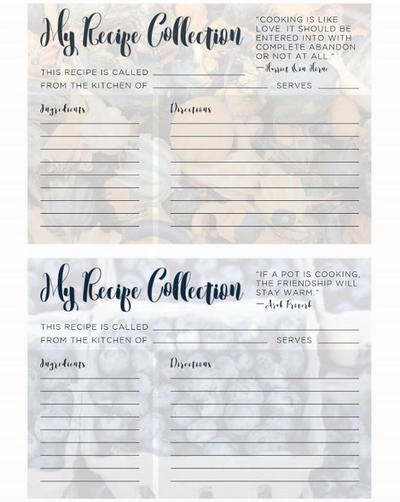 Printable Recipe Cards for Summer