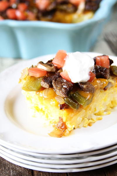 Baked Big Steak Omelet Casserole