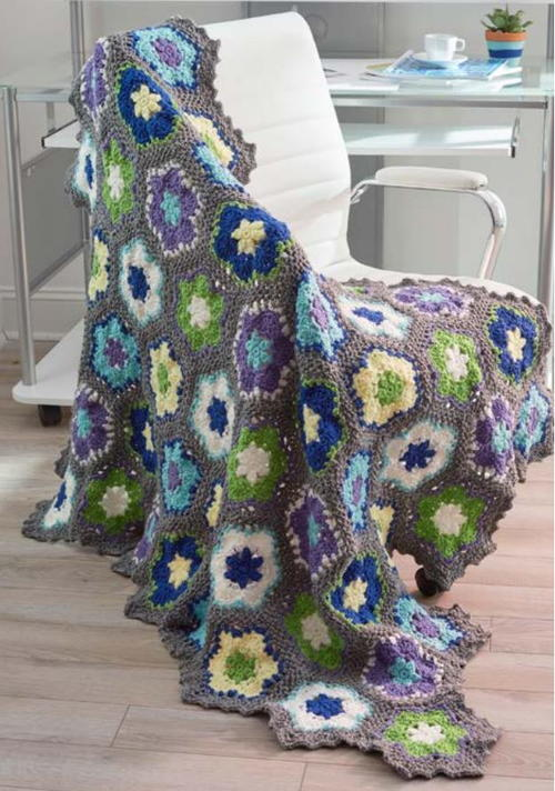 Blooming Flowers Crochet Throw