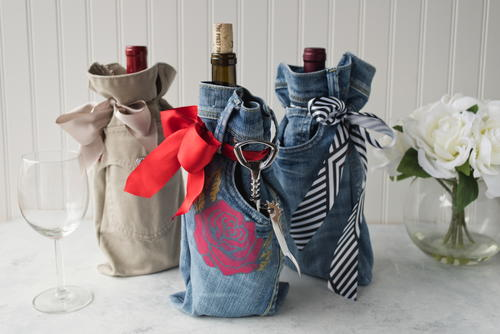 Recycled Denim Wine Bottle Sleeve