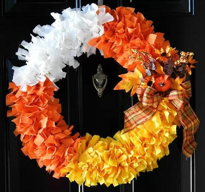 Candy Corn Fabric Wreath