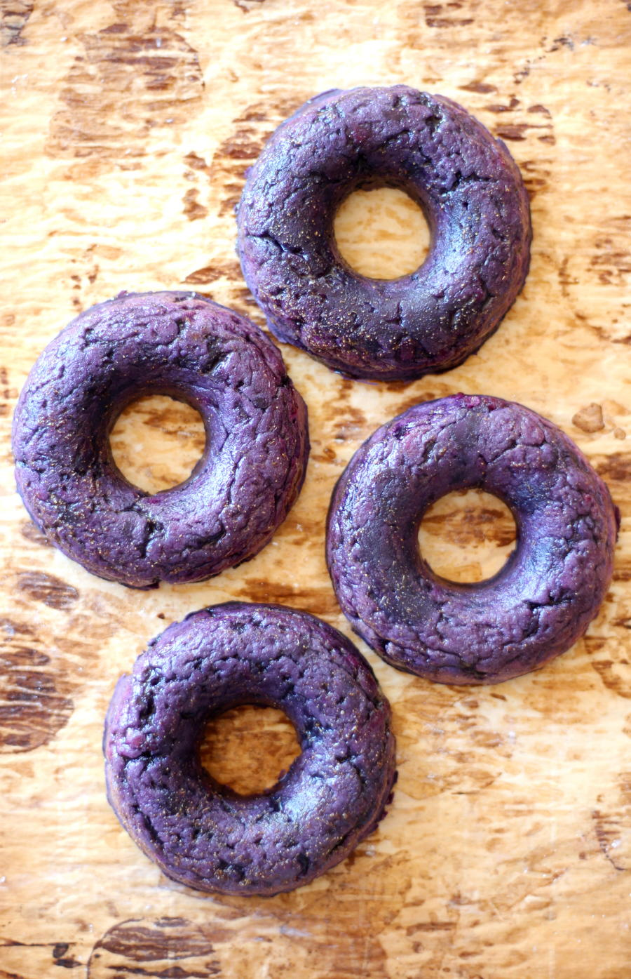 Ginger Glazed Purple Sweet Potato Doughnuts
