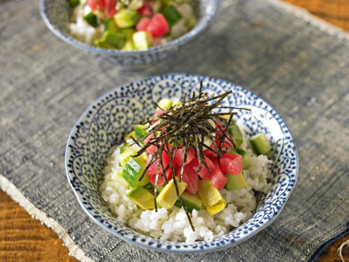 Fresh Tuna Rice Bowl with Cucumber Avocado and Spicy Mayonnaise