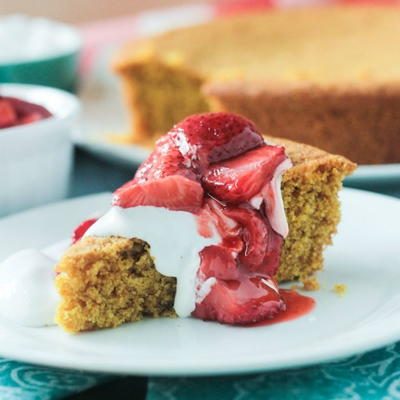 Vanilla Corn Cake w Roasted Strawberries
