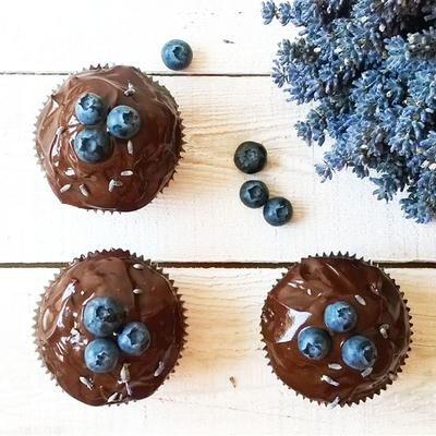 Lavender Blueberry Double Chocolate Muffins