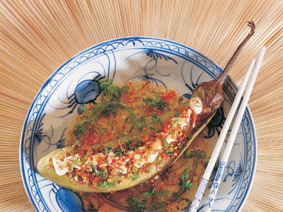 Grilled Eggplant Salad with Crabmeat Ca Tim Nuong