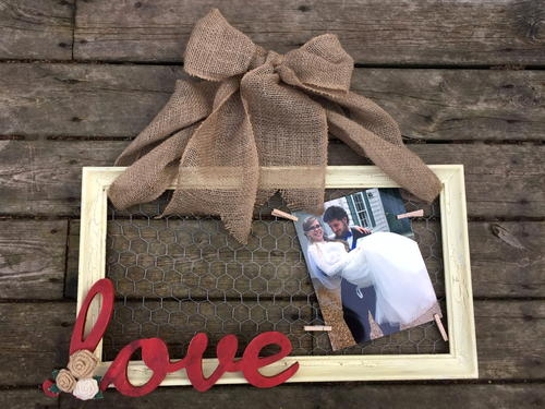 Rustic Chic Love Chicken Wire Frame