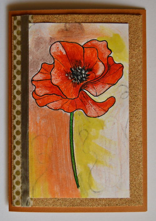 Rustic Red Poppy Handmade Card
