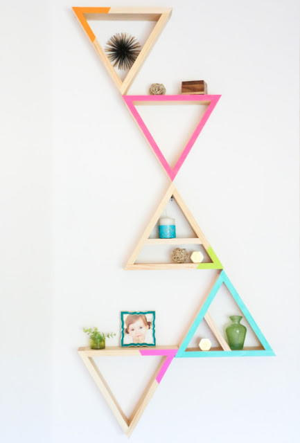 Colorful DIY Triangle Shelves