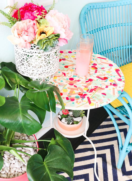 Bright Confetti Decorated DIY Side Table