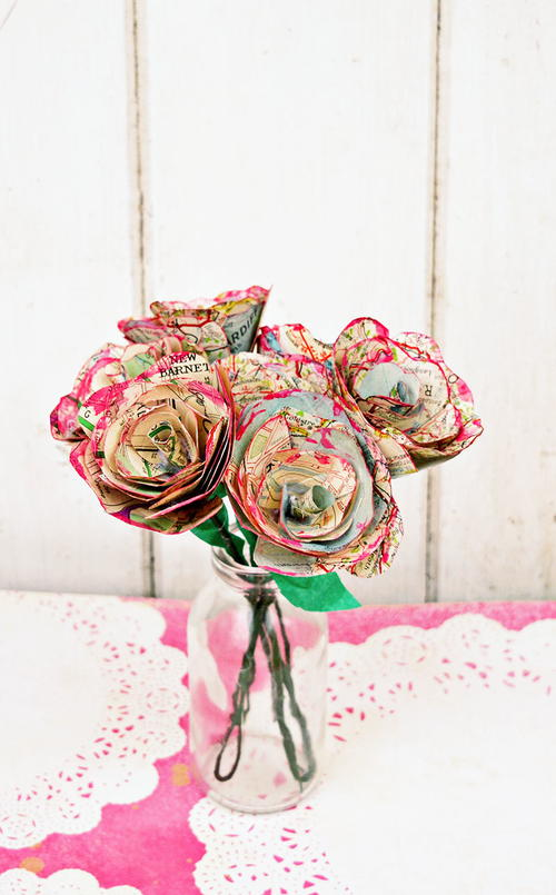 Beautiful Vintage Map Paper Roses
