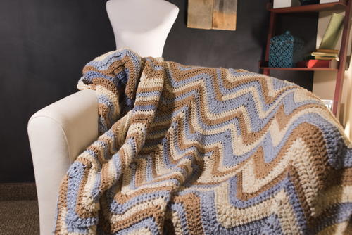 Tricolored Crochet Chevron Afghan Pattern