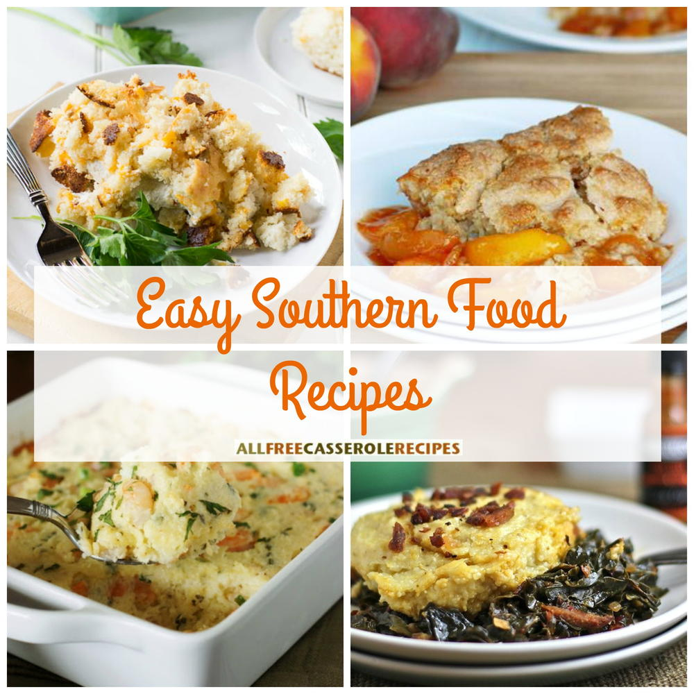Traditional Southern Dishes. A traditional Southern meal is pan-fried chicken, field peas, greens, mashed potatoes, cornbread, sweet tea and a dessert that could be a pie (sweet potato, chess, shoofly, pecan, and peach are traditional southern pies), or a cobbler (peach, blackberry or mixed berry are traditional cobblers).