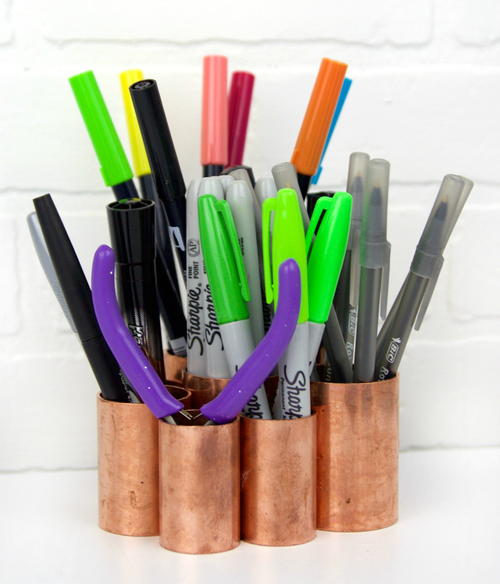 DIY Copper Pipe Desk Organizer