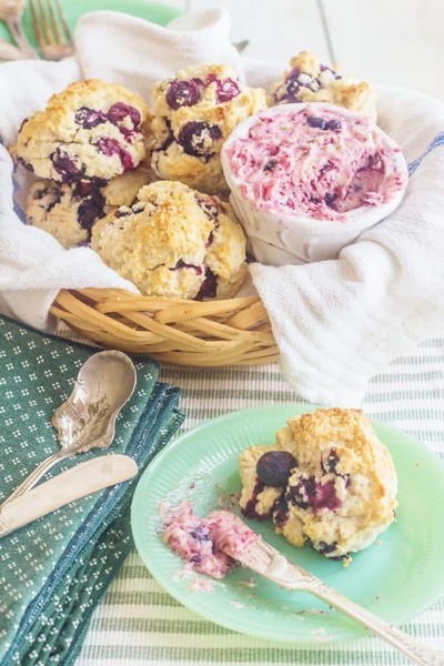 Southern Blueberry Cream Drop Biscuits