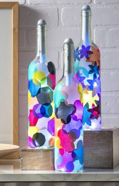 Tissue Paper Wine Bottle Lights