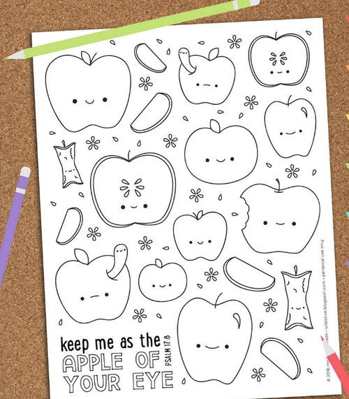apple of my eye free printable coloring page